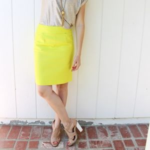 J. Crew Chartreuse Yellow Pencil Skirt